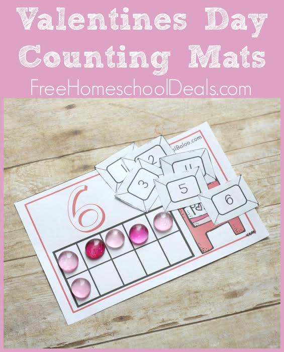 These Valentine's Day Counting Mats are a fun way for preschoolers to practice their numbers and counting skills as they share fun cards! :: www.thriftyhomeschoolers.com