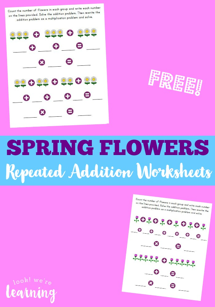 These Spring Flowers themed addition worksheets are a fun way to work on math and patterns. :: www.thriftyhomeschoolers.com