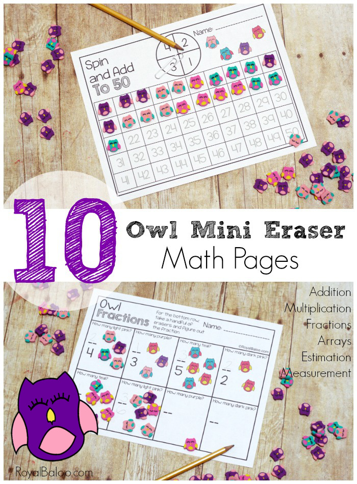 If you have an owl fanatic in your house or a girl who loves mini erasers, these math pages from Royal Baloo are a must! :: www.thriftyhomeschoolers.com