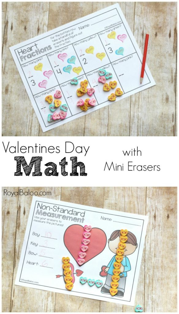 Make math fun again with this Valentines' Day Math with Mini Erasers Sheets! :: www.thriftyhomeschoolers.com