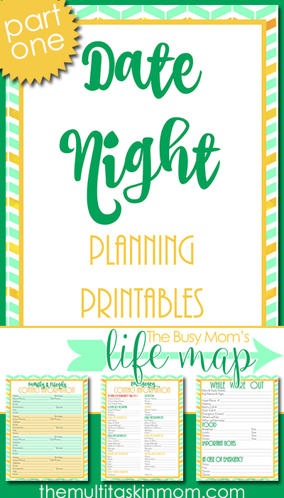 Planning a date night? Grab these free printables, so your children will have all the important information while you're out. :: www.thriftyhomeschoolers.com