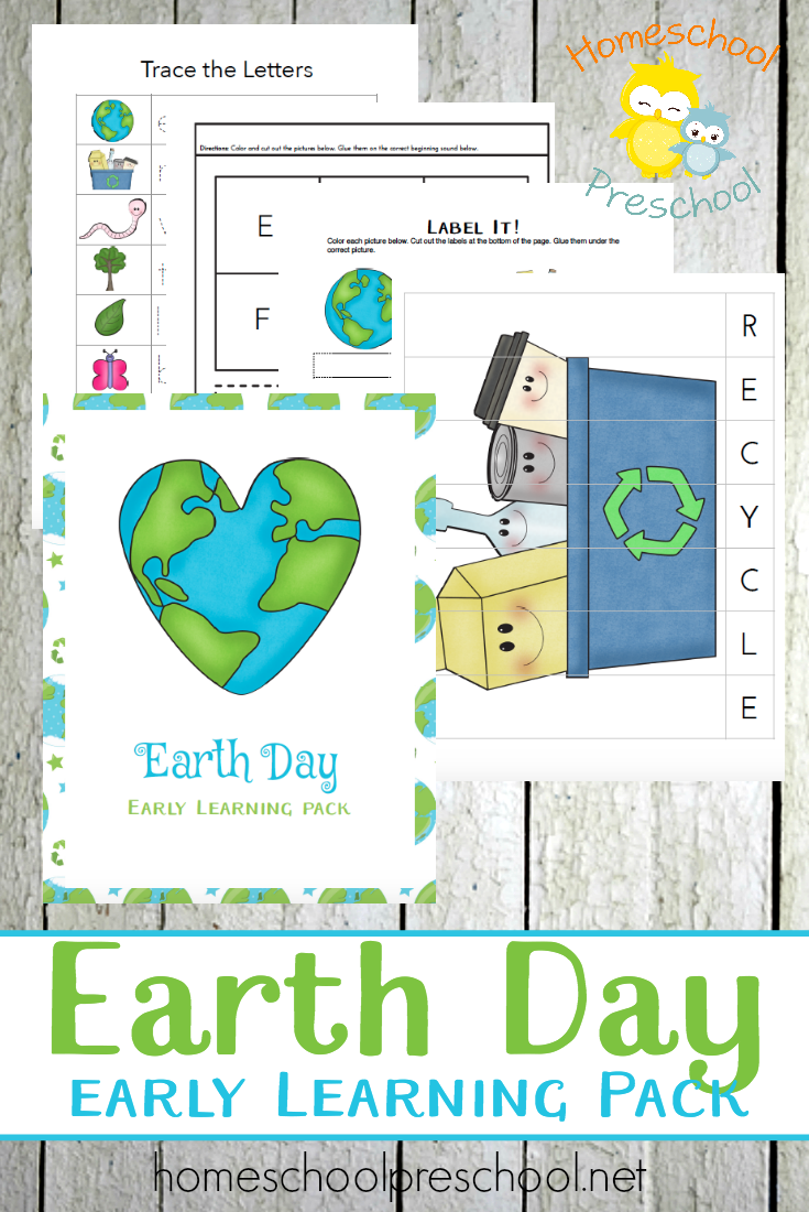 Teach little ones about Earth Day while working on their counting skills, letters and more with this free pack. :: www.thriftyhomeschoolers.com