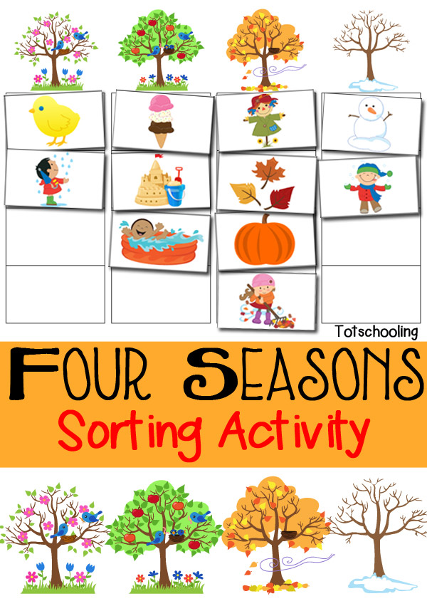 Teach children to recognize animals, clothing, objects and more for each season with this fun Four Seasons Sorting Pack. :: www.thriftyhomeschoolers.com