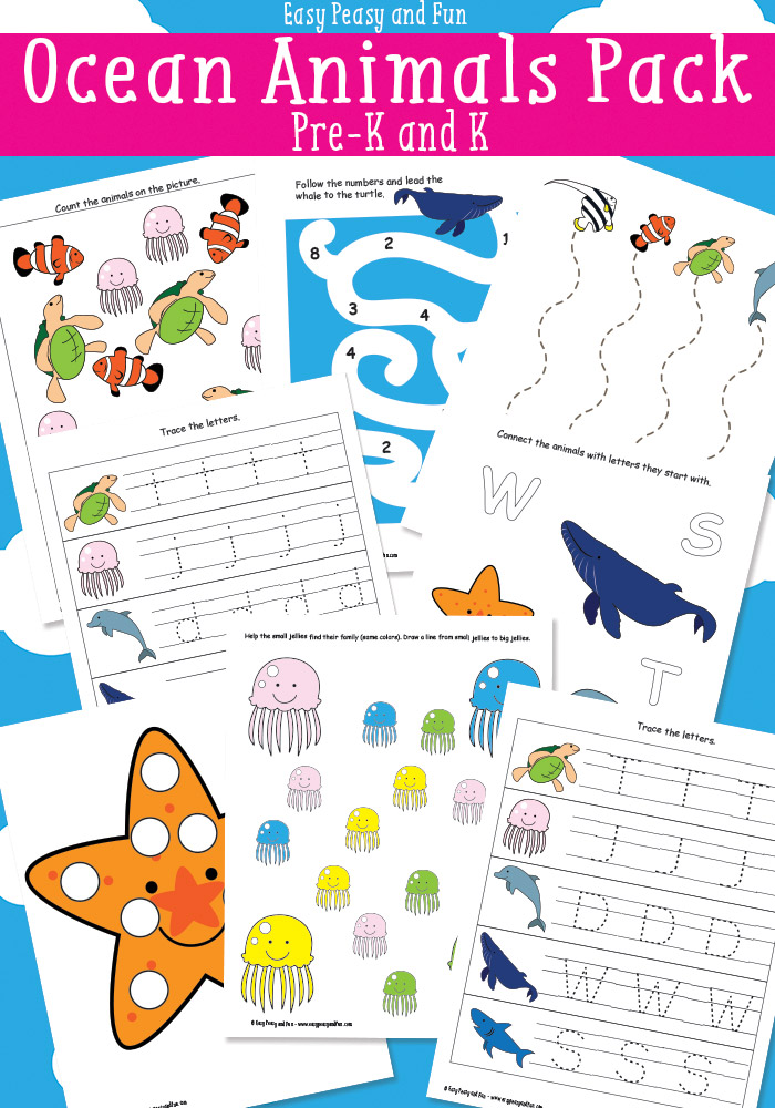 Your toddlers and PreK kids will have fun with these Ocean Animals coloring pages, prewriting practice, letter tracing sheets and more! :: www.thriftyhomeschoolers.com