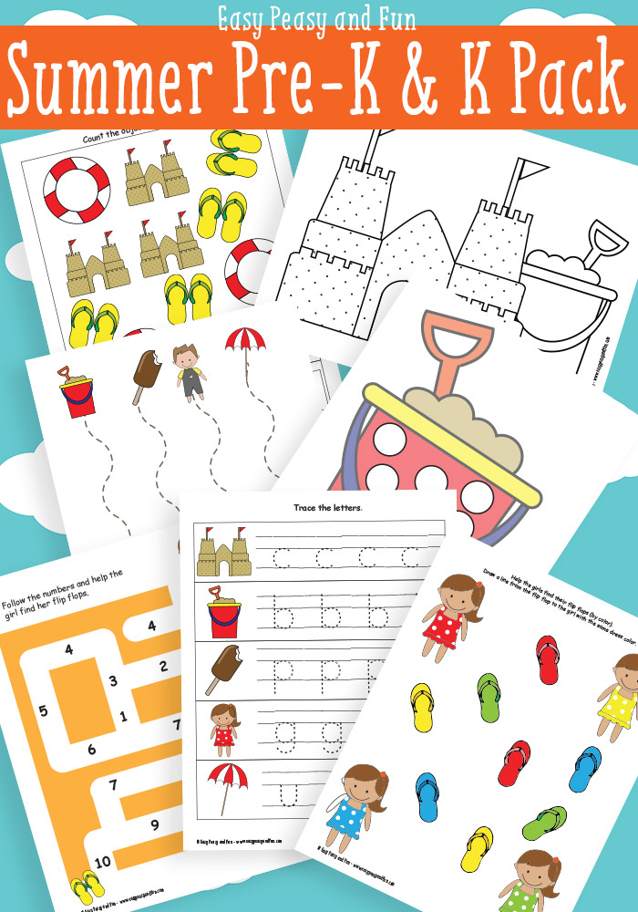 Are you ready for Summer? The learning doesn't have to stop with this FREE Summer themed PreK-K pack from Easy Peasy and Fun. :: www.thriftyhomeschoolers.com