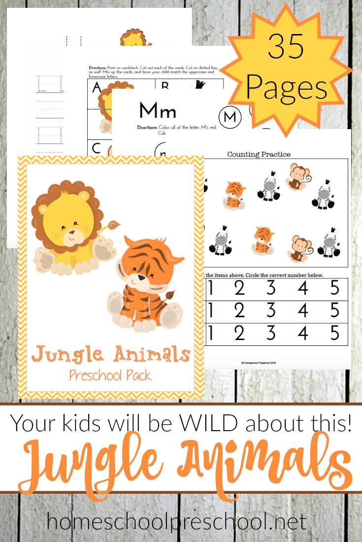 These adorable Jungle Animals printables will help little ones with a variety of skills including handwriting, letters, counting and more! :: www.thriftyhomeschoolers.com
