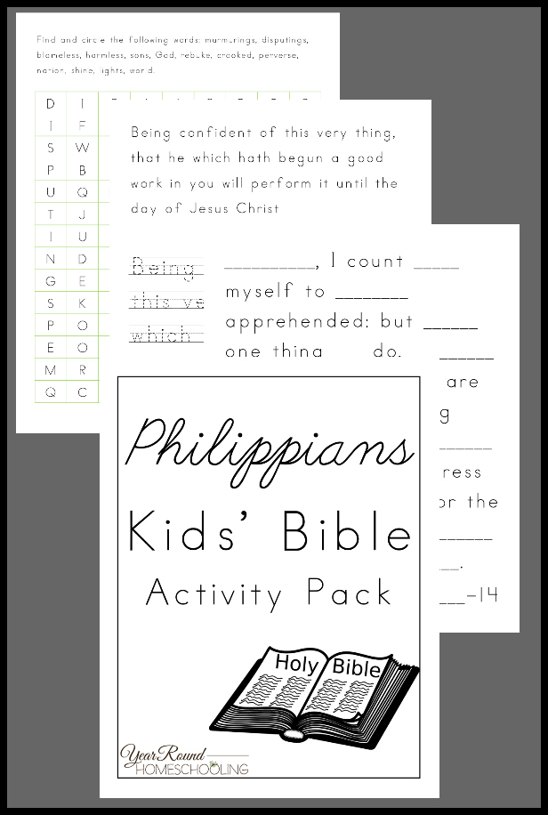 This Philippians Bible Activity Pack for kids is the perfect way to help them get started on their personal Bible study time. :: www.thriftyhomeschoolers.com