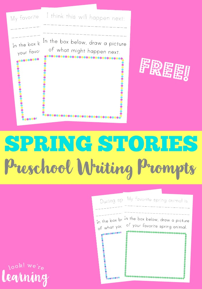 Even your littlest ones can work on their creative writing skills with these fun Spring Stories Preschool Writing Prompts! :: www.thriftyhomeschoolers.com