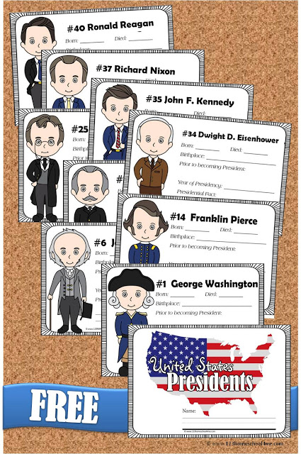 Kids will have great fun learning about the Presidents of the United States with this printable workbook.  In Color or Black and White from 123 Homeschool for Me.  :: www.thriftyhomeschoolers.com