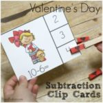Valentine's Day Subtraction Clip Cards