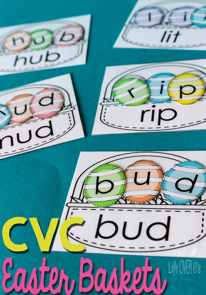 Little ones will love practicing their CVC Words with the adorable Easter Basket printables. :: www.thriftyhomeschoolers.com