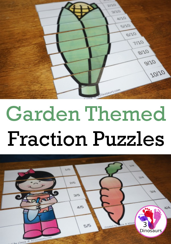 Working on fractions this year? Help kids learn fractions with these great garden themed fraction puzzles from 3 Dinosaurs. :: www.thriftyhomeschoolers.com