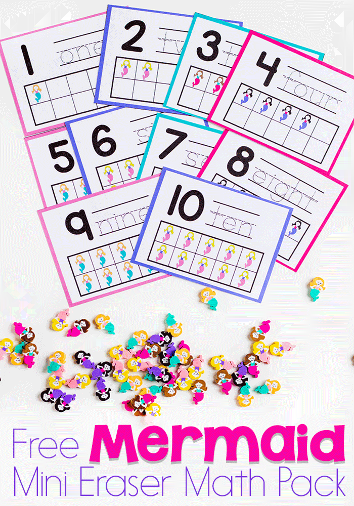 This fun Mermaid Mini Eraser Math Pack is perfect for any princess loving girl! :: www.thriftyhomeschoolers.com