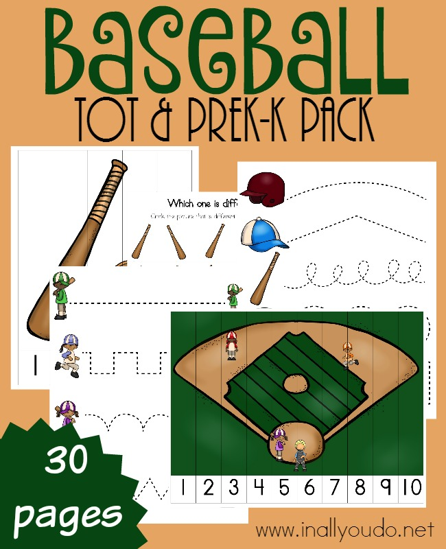 Your littlest baseball fans will love working through this fun Tot & PreK-K pack full of activities! :: www.thriftyhomeschoolers.com