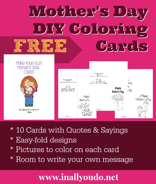 Have the kids make their own Mother's Day cards this year! Simply download, print and color! :: www.thriftyhomeschoolers.com