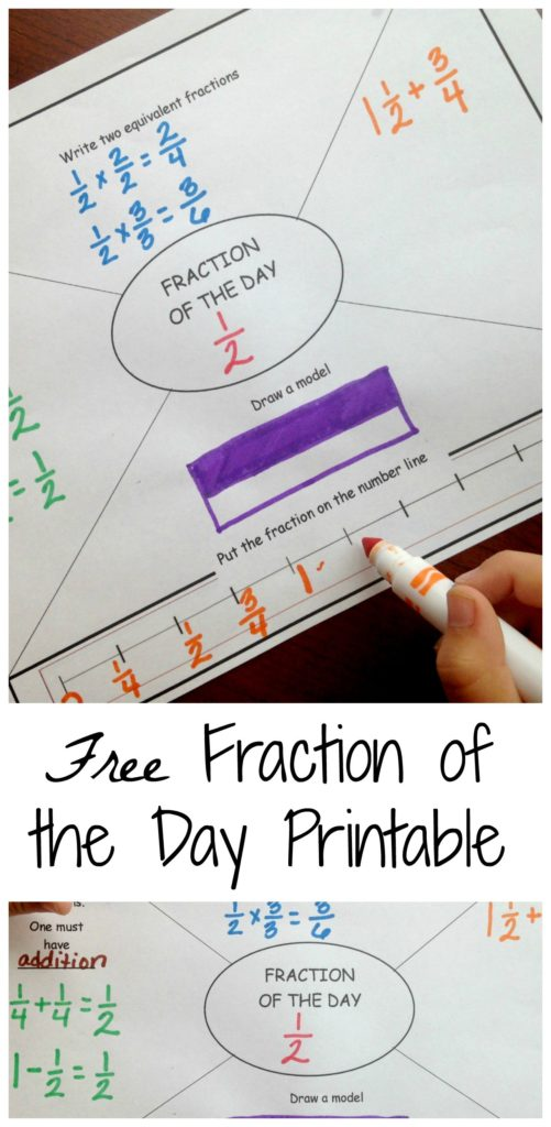 Fractions can be difficult, but this simple and fun Fraction of the Day printable is great for reinforcement. :: www.thriftyhomeschoolers.com