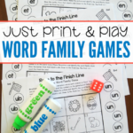 FREE Word Family Print and Play Games