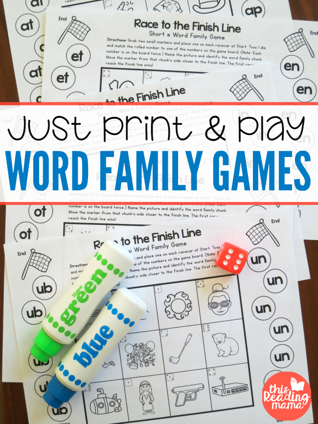 Practice reading skills with these fun print and play Word Family Games! :: www.thriftyhomeschoolers.com