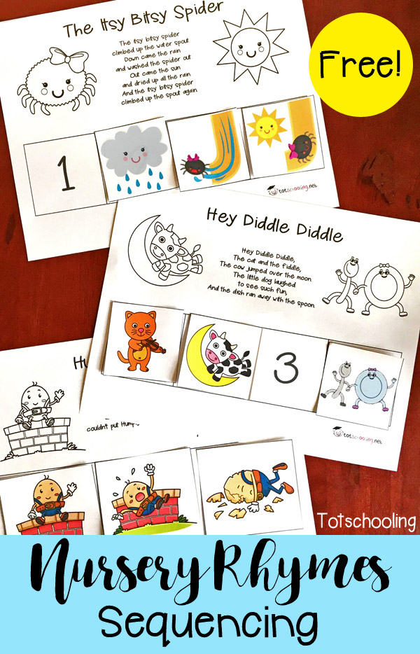 These simple nursery rhyme sequencing printables are perfect for improving reading and listening skills. :: www.thriftyhomeschoolers.com