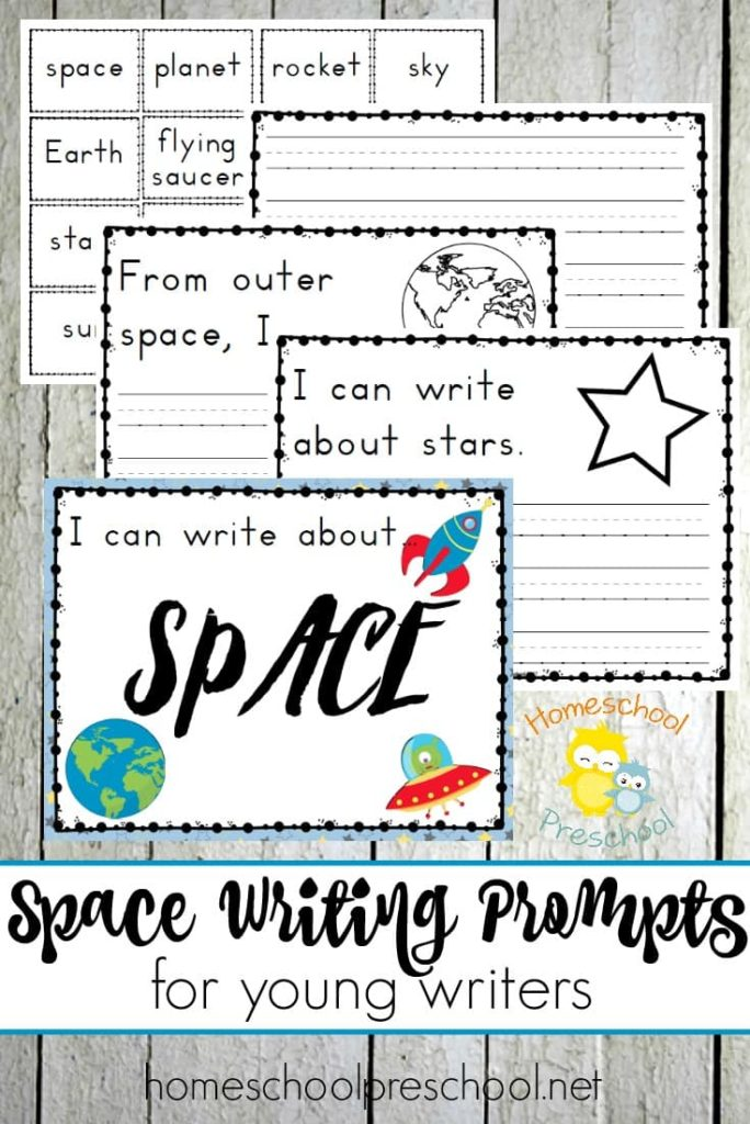 Learning about space with your little ones? Check out this super fun Space Writing Prompt pack for young writers! :: www.thriftyhomeschoolers.com