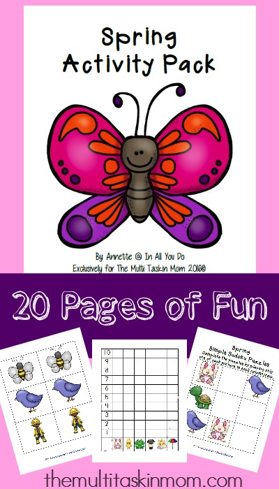 Celebrate Spring and keep kids learning with this fun 20-page activity pack. Includes matching, SuDoKu and roll & graph game. :: www.thriftyhomeschoolers.com