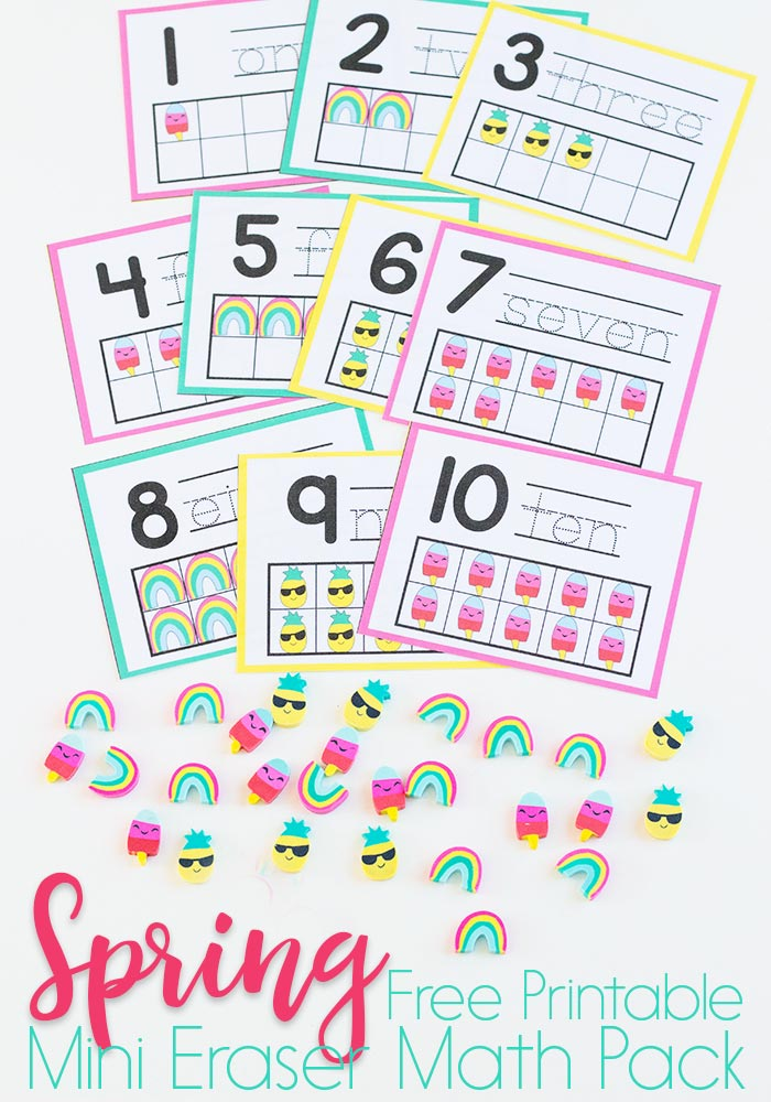 Grab a stock pile of mini erasers and these Spring themed Counting Cards for the perfect math review with your little ones! :: www.thriftyhomeschoolers.com