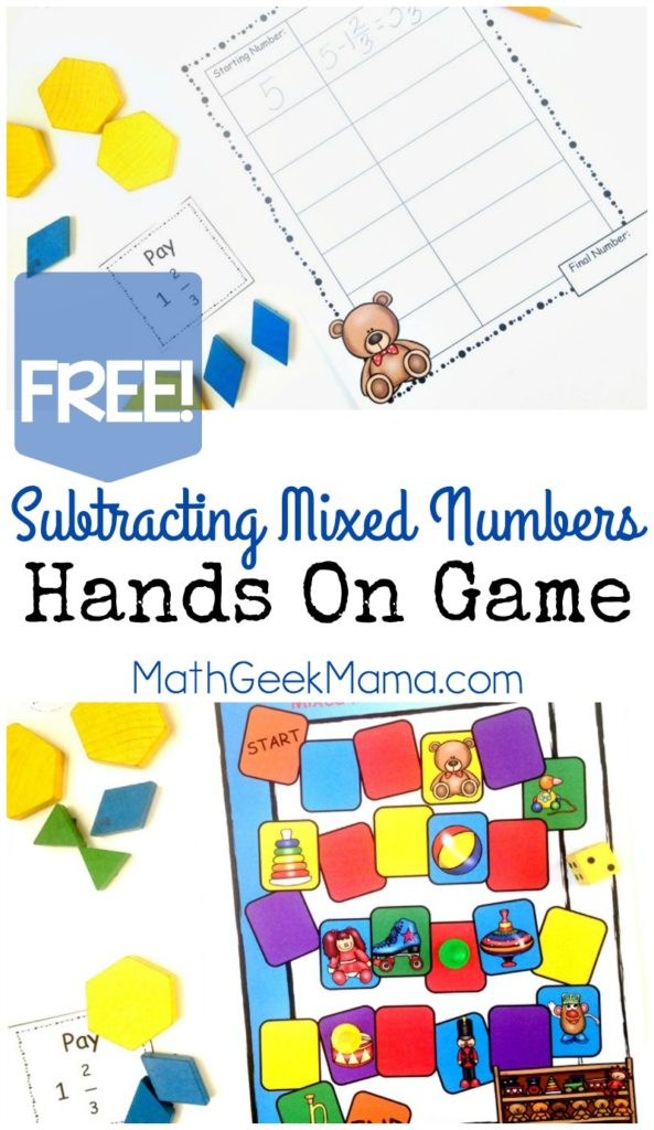 Use this fun Mixed Numbers game to help kids learn that Math can be fun! :: www.thriftyhomeschoolers.com