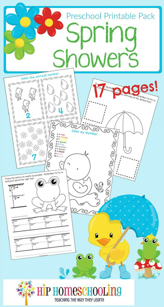Make the most of those rainy days with these adorable Spring Showers Preschool printables. :: www.thriftyhomeschoolers.com