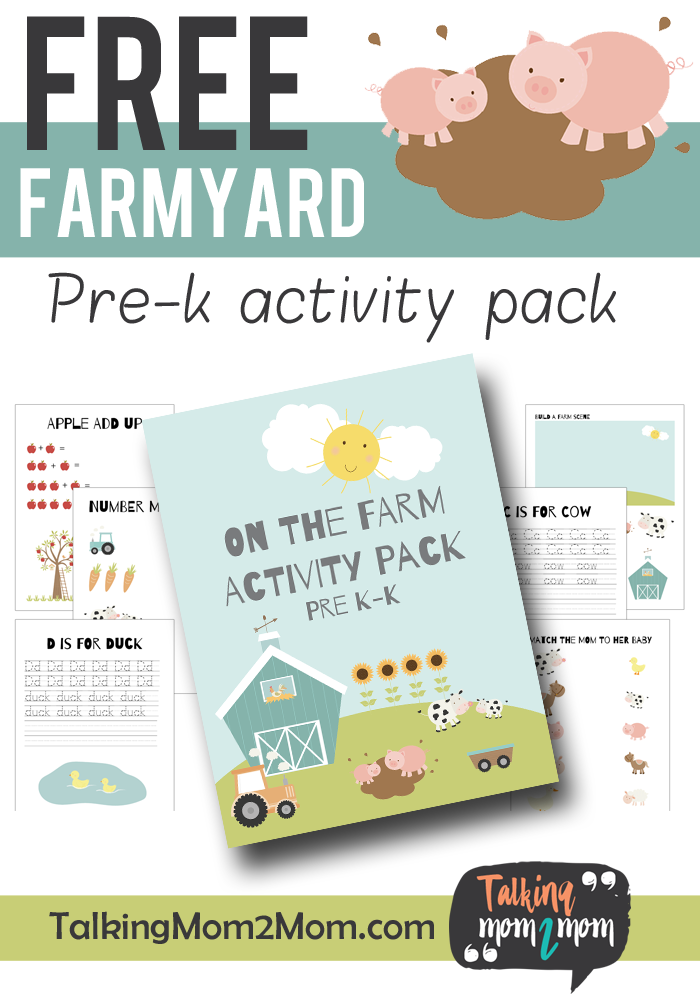 Do you live on a farm or are visiting a farm? This fun PreK Farmyard Activity Pack is perfect to teach little ones as they learn about the farm! :: www.thriftyhomeschoolers.com