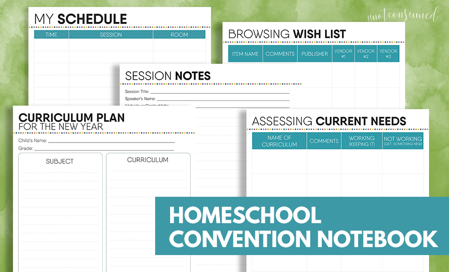Do homeschool conventions overwhelm you? Make the most of your time and learning with this FREE Homeschool Convention Notebook. :: www.thriftyhomeschoolers.com