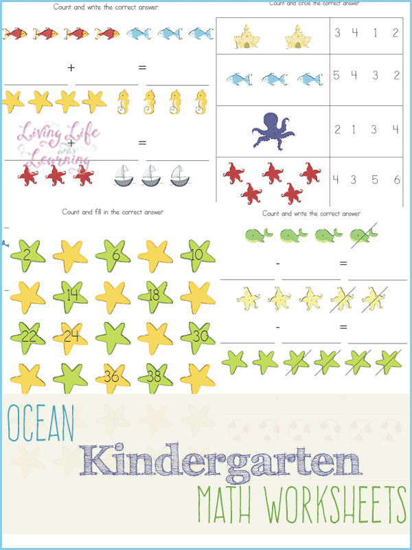 Keep your little ones' math skills sharp during the summer with these adorable Ocean Kindergarten Math worksheets. :: www.thriftyhomeschoolers.com