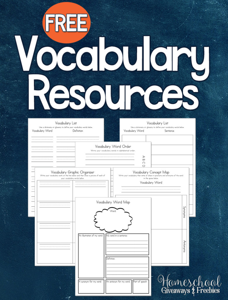 Help your children learn new vocabulary words with these free Vocabulary Resources. :: www.thriftyhomeschoolers.com