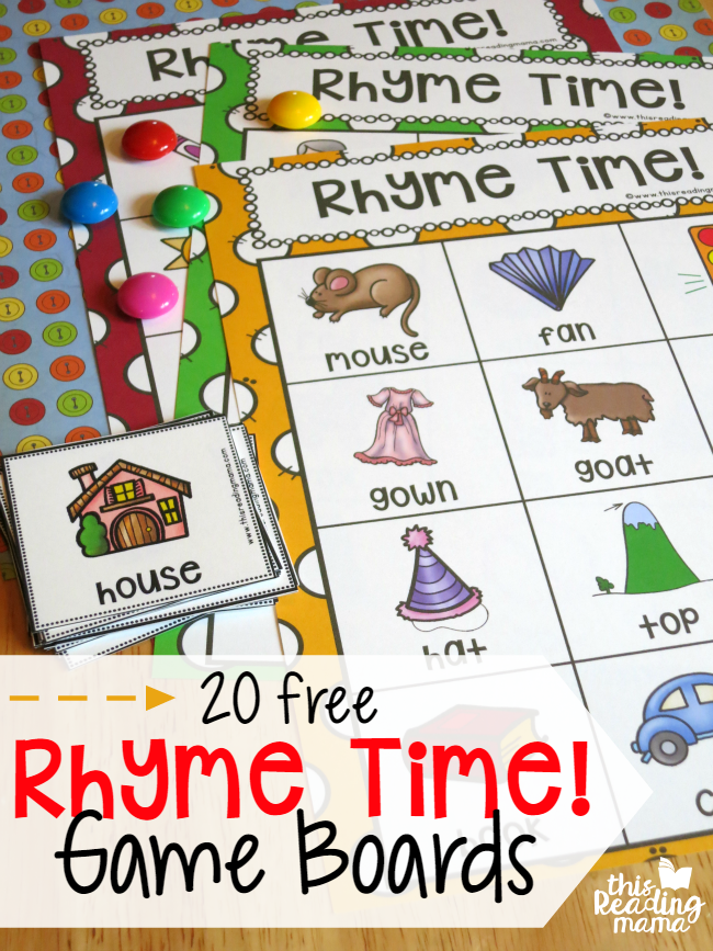 Learning to rhyme is key in pre-reading skills. Help little ones learn to rhyme with these fun Rhyme Time Game Boards! :: www.thriftyhomeschoolers.com