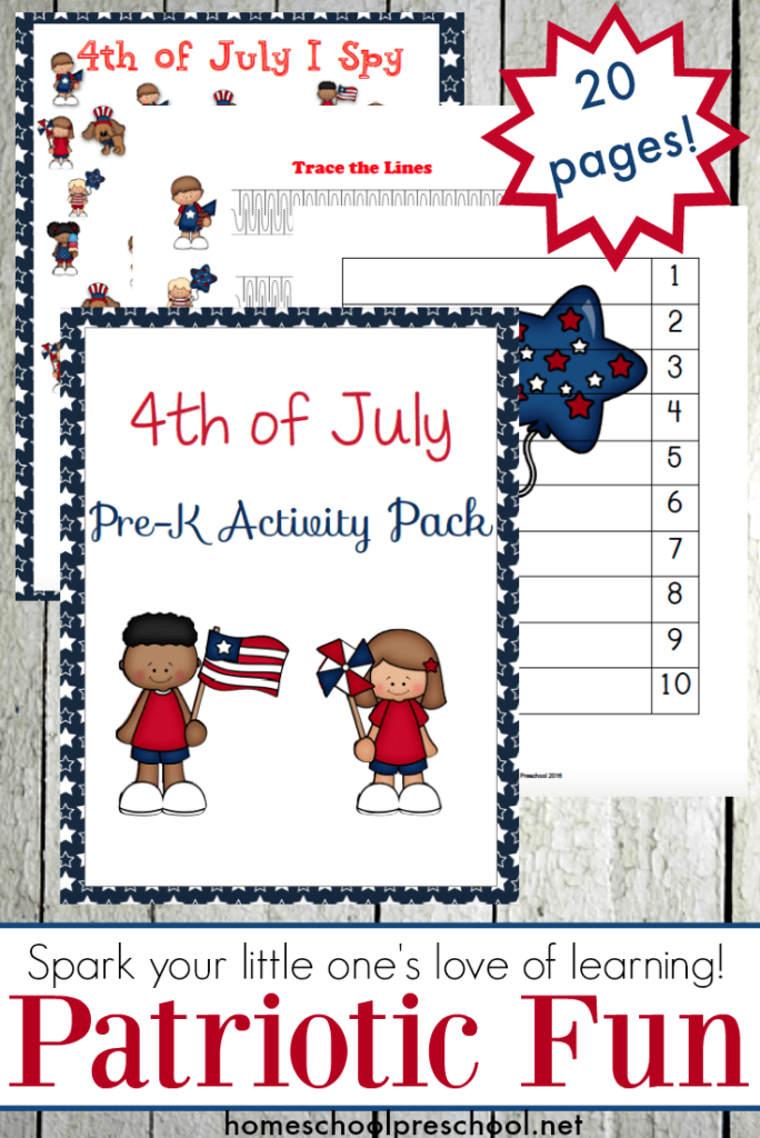 Keep your preschoolers and tots learning and sharp this summer with this fun July 4th printable pack! :: www.thriftyhomeschoolers.com