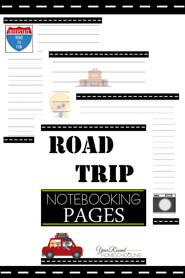 Make the most of your summer road trips with these FREE Road Trip Notebooking Pages! Beat the road trip blues and get in some school too! :: www.thriftyhomeschoolers.com