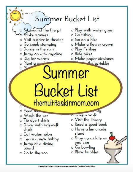 Grab this free printable Summer Bucket List and make the most of your summer vacation this year! Whether you stay at home or take a trip, there are some great ideas here! :: www.thriftyhomeschoolers.com