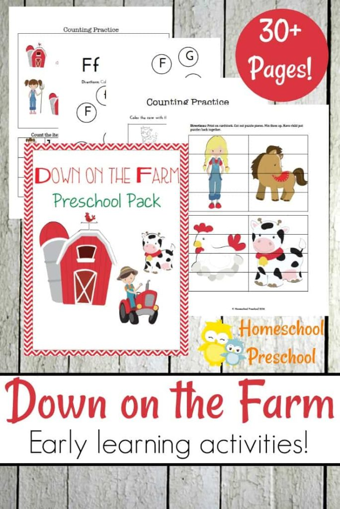 If your little one loves farms and farm animals, don't miss this super cute FREE Down on the Farm printable preschool pack with over 30 pages of activities. :: www.thriftyhomeschoolers.com