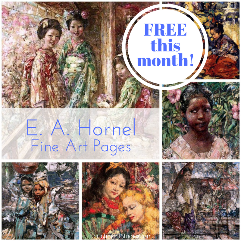 These FREE E. A. Hornel Fine Art Pages are the perfect introduction to painting for young children. Hurry...offer ends June 30, 2017. :: www.thriftyhomeschoolers.com