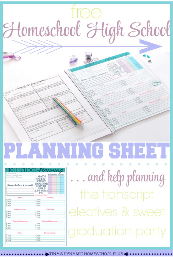 free homeschool transcript template - high school homeschool planning sheet