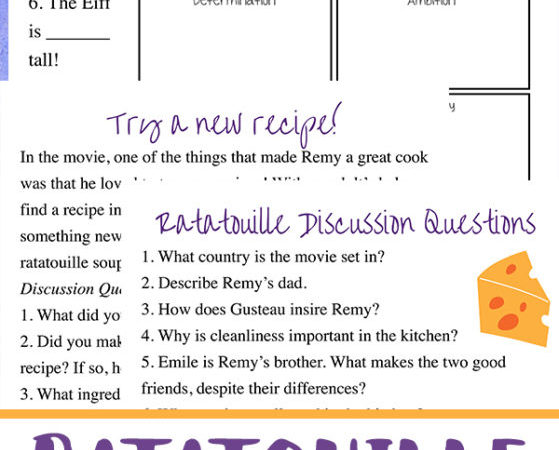 Free Ratatouille Movie Unit Study