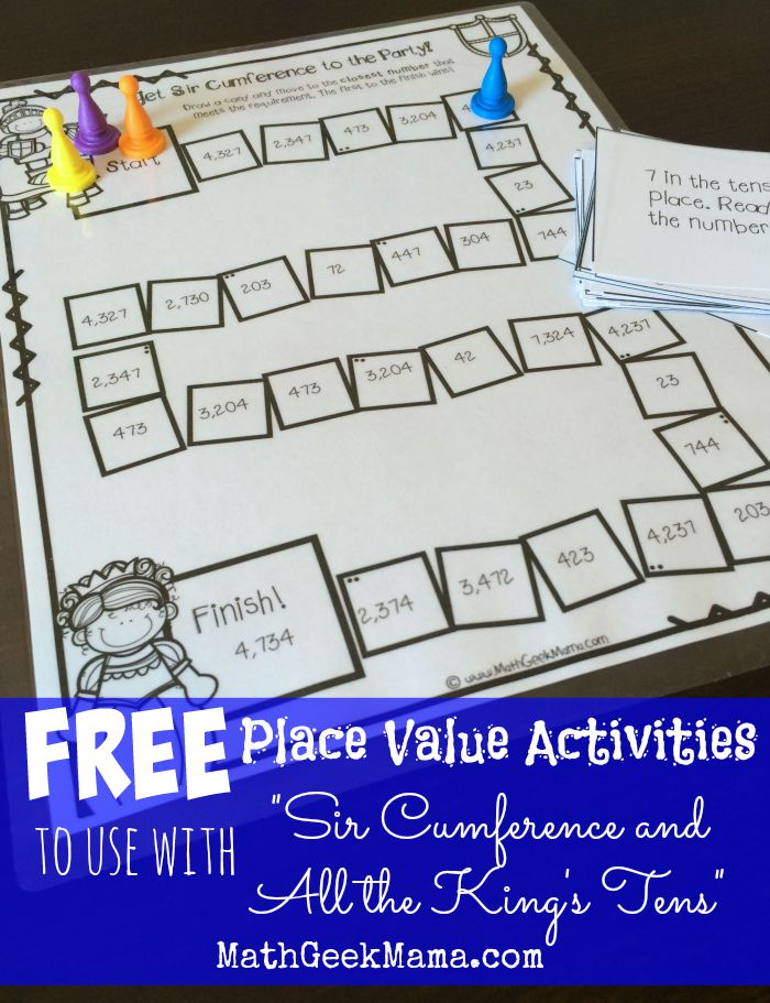 "Make learning place value fun and entertaining with this free printable game and ""Sir Cumference and All the King's Tens"". :: www.thriftyhomeschoolers.com"