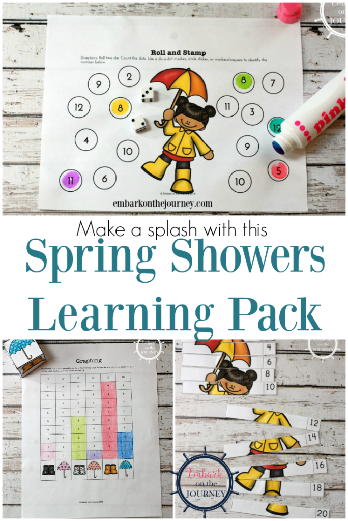 Rain happens all year round, so this fun Spring Showers Learning Pack can be used anytime to help little ones work on their number recognition and counting skills! :: www.thriftyhomeschoolers.com