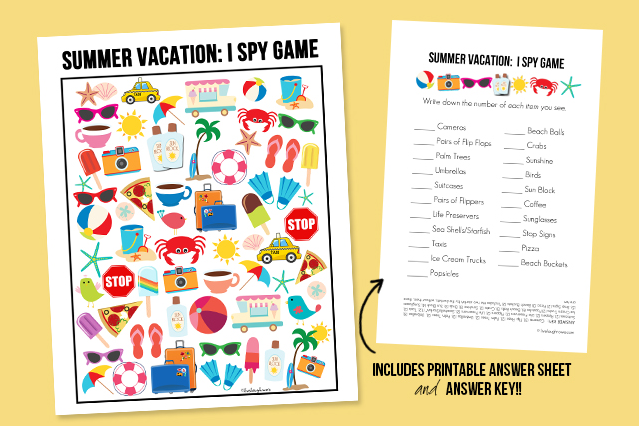 Free Summer Vacation I Spy Game Printable