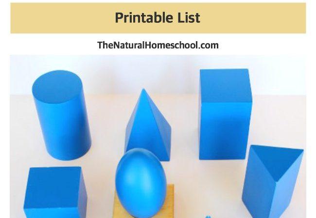 The Montessori Three-Period Lesson {Printable List}