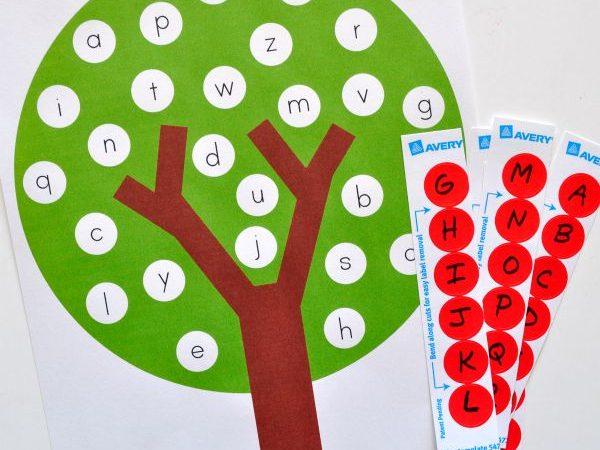 Free Apple Tree ABC Match Preschool Printable
