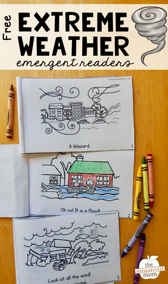 Kids can learn about 5 different natural disasters in three levels with these fun and Free Emergent Readers. :: www.thriftyhomeschoolers.com