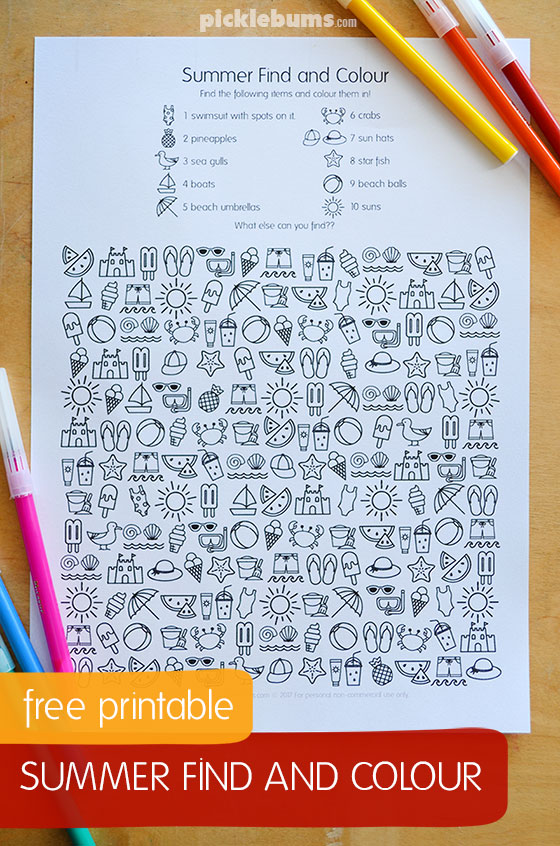 image relating to Seek and Find Printable referred to as Summertime Seek out Obtain Printable - Thrifty Homeschoolers