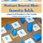 Montessori Sensorial Album: Geometric Solids {5 Lessons & Printable 3-Part Cards}