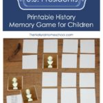 Printable History Memory Game for Children: U.S. Presidents