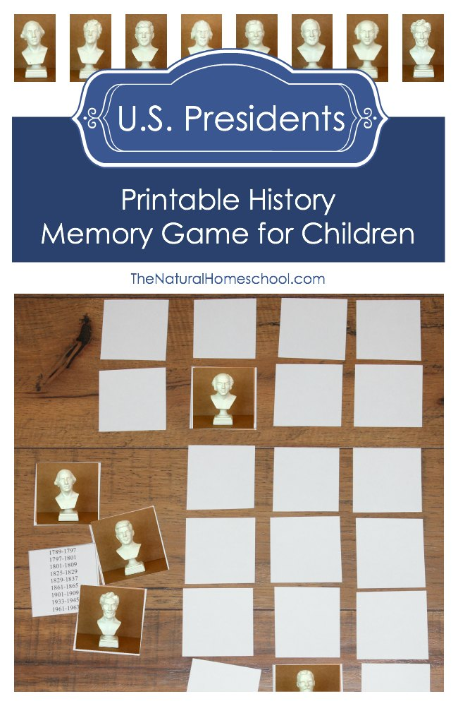 This printable History Memory Game for Children focuses on some of the most popular U.S. Presidents from the past. :: www.thriftyhomeschoolers.com